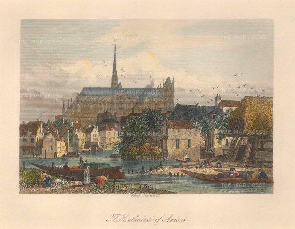 Bibby: Amiens. Circa 1840. A hand-coloured original antique steel-engraving. 8 x 6 inches. [FRp1422]