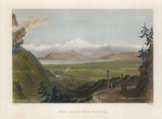 "Bartlett: Mont Blanc from the Jura. 1830. A hand coloured original antique steel engraving. 8"" x 7"". [FRp1426]"