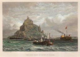 """Wallis: Mont Saint-Michel. c1830. A hand coloured original antique steel engraving. 10"""" x 8"""". [FRp1428]"""