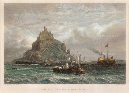 Wallis: Mont Saint-Michel. Circa 1830. A hand-coloured original antique steel-engraving. 10 x 8 inches. [FRp1428]