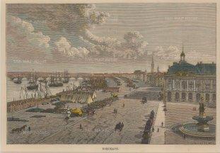 """Reclus: Bordeaux. 1894. A hand coloured original antique wood engraving. 8"""" x 6"""". [FRp1443]"""