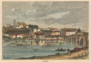 Reclus: Limoges. 1894. A hand-coloured original antique wood-engraving. 8 x 6 inches. [FRp1447]
