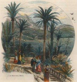 "Picturesque Mediterranean: Monaco. c1875. A hand coloured original antique wood engraving. 7"" x 8"". [FRp1475]"