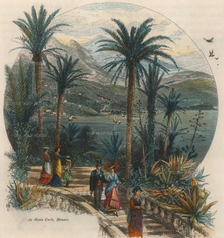 Picturesque Mediterranean: Monaco. Circa 1875. A hand-coloured original antique wood-engraving. 7 x 8 inches. [FRp1475]
