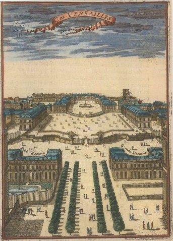 Mallet: Versailles. 1686. A hand-coloured original antique copper-engraving. 4 x 6 inches. [FRp1486]