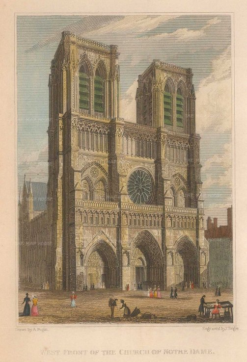 Pugin: Paris. 1828. A hand-coloured original antique steel-engraving. 4 x 6 inches. [FRp1516]