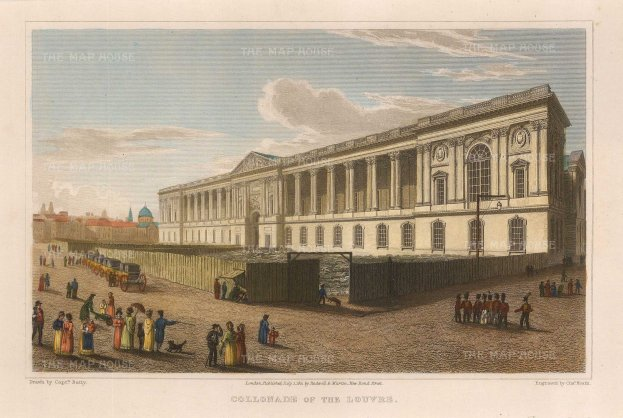 "Lieut. Col. Batty: Louvre, Paris. 1821. A hand coloured original antique steel engraving. 8"" x 5"". [FRp1531]"