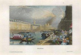 Meyer: Nantes. 1836. A hand-coloured original antique steel-engraving. 8 x 6 inches. [FRp1544]