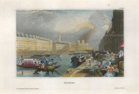 "Meyer: Nantes. 1836. A hand coloured original antique steel engraving. 8"" x 6"". [FRp1544]"