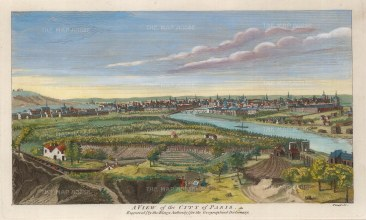 "Moll: Paris. c1745. A hand coloured original antique copper engraving. 11"" x 8"". [FRp1579]"