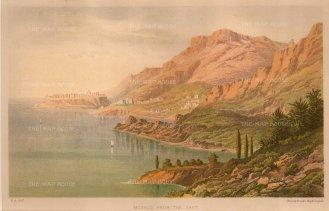 """Brooks: Monaco. 1870. An original antique chromolithograph. 10"""" x 6"""". [FRp1582]"""
