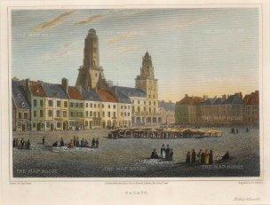 """Lieut. Col. Batty: Calais. 1821. A hand coloured original antique steel engraving. 9"""" x 7"""". [FRp1586]"""