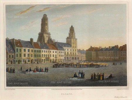 Lieut. Col. Batty: Calais. 1821. A hand-coloured original antique steel-engraving. 9 x 7 inches. [FRp1586]