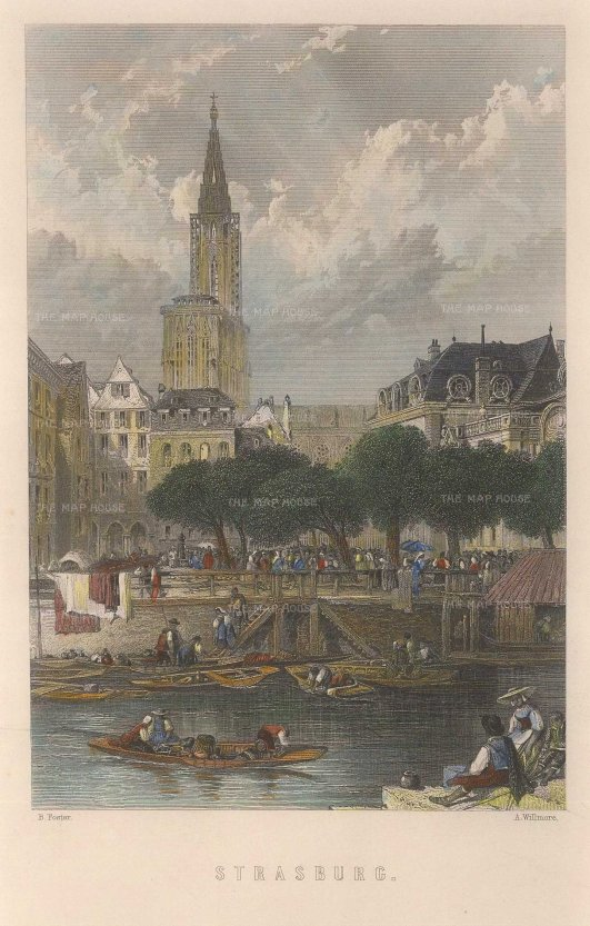 "Mackenzie: Strasbourg. c1840. A hand coloured original antique steel engraving. 5"" x 8"". [FRp1587]"