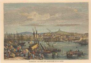 "Reclus: Marseilles. 1894. A hand coloured original antique steel engraving. 8"" x 6"". [FRp1588]"