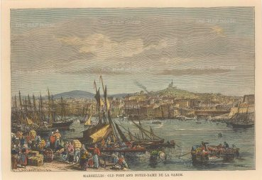 "Reclus: Marseilles. 1894. A hand coloured original antique steel engraving. 8"" x 6"". [FRp1588]"