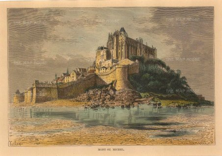 "Reclus: Mont Saint-Michel. 1894. A hand coloured original antique wood engraving. 8"" x 6"". [FRp1595]"