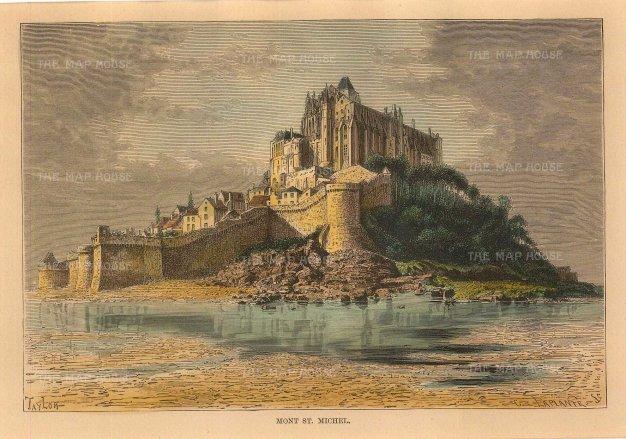 Reclus: Mont Saint-Michel. 1894. A hand-coloured original antique wood-engraving. 8 x 6 inches. [FRp1595]