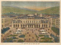 "Illustrated London News: Casino Municipal, Nice. 1882. A hand coloured original antique wood engraving. 13"" x 10"". [FRp1603]"