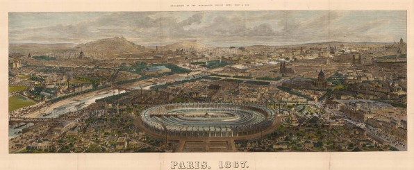 Panorama of Paris: From the Champ de Mars and the main building of the 1867 International Exposition.