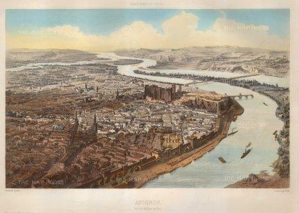 "Lemercier: Avignon. 1850. A hand coloured original antique lithograph. 18"" x 13"". [FRp1606]"