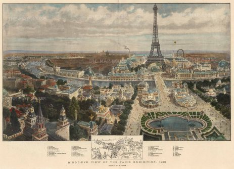 SOLD Bird's Eye view:of the Paris Exhibition and Eiffel Tower: With key to the principal installations.