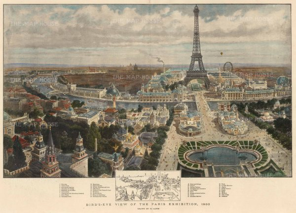 The Graphic Magazine: Paris. 1900. A hand coloured original antique photo-lithograph. 20″ x 14″. [FRp1613]