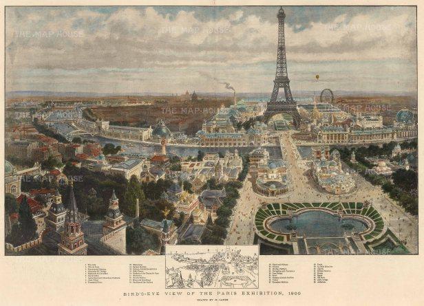 The Graphic Magazine: Paris. 1900. A hand coloured original antique photo-lithograph. 20″ x 14″. [FRp1613]