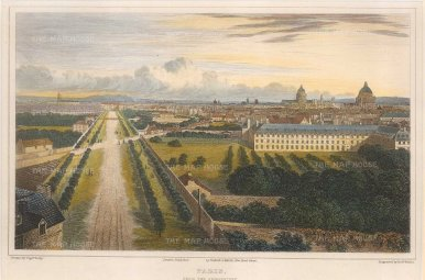 Lieut. Col. Batty: Paris. Circa 1821. A hand-coloured original antique steel-engraving. 9 x 6 inches. [FRp1616]