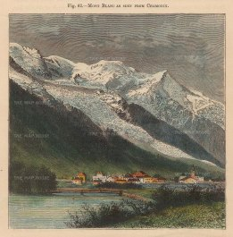 "Reclus: Mont Blanc from Chamonix. 1894. A hand coloured original antique wood engraving. 4"" x 5"". [FRp1619]"