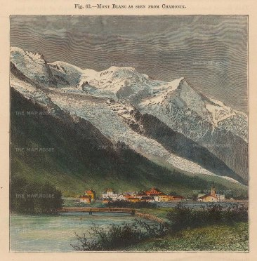 """Reclus: Mont Blanc from Chamonix. 1894. A hand coloured original antique wood engraving. 4"""" x 5"""". [FRp1619]"""