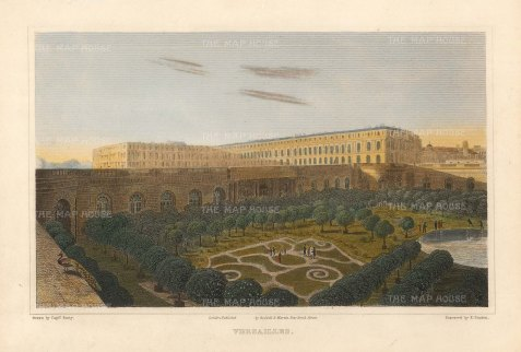 "Lieut. Col. Batty: Versailles. 1821. A hand coloured original antique steel engraving. 9"" x 6"". [FRp1621]"