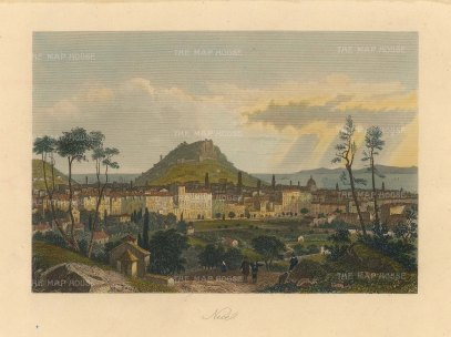 "Payne: Nice. c1860. A hand coloured original antique steel engraving. 6"" x 5"". [FRp1624]"