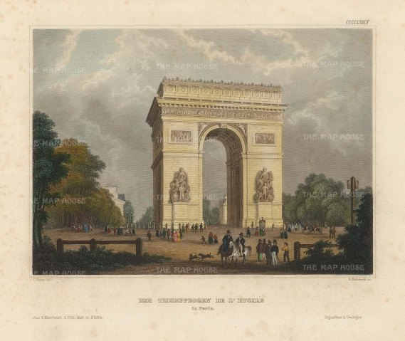 Meyer: Paris. 1844. A hand-coloured original antique steel-engraving. 6 x 5 inches. [FRp1625]