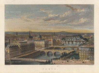 """Mackenzie: Paris. c1840. A hand coloured original antique steel engraving. 8"""" x 6"""". [FRp1634]"""