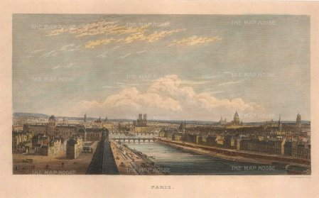 "Kelly: Paris. c1844. A hand coloured original antique steel engraving. 7"" x 5"". [FRp1635]"