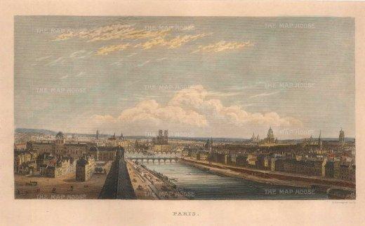 "Kelly: Paris. c1844. A hand coloured original antique steel engraving. 7"" x 5"". [FRp1635]"