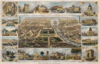 Bird's Eye view, with 18 vignettes of historic buildings and locations.
