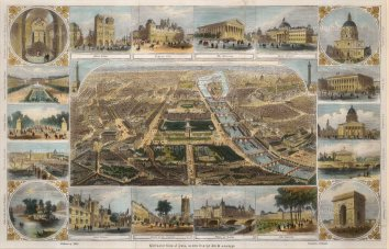 Bird's Eye view:With 18 vignettes of historic buildings and locations.
