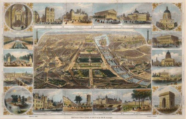 Anon: Paris. Circa 1880. A hand-coloured original antique steel-engraving. 14 x 10 inches. [FRp1637]