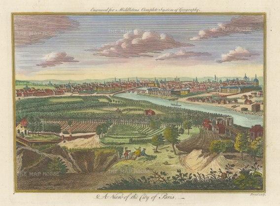 Middleton: Paris. 1778. A hand-coloured original antique copper-engraving. 12 x 7 inches. [FRp1638]