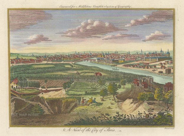 Middleton: Paris. 1778. A hand coloured original antique copper engraving. 12″ x 7″. [FRp1638]