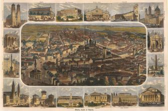 Anon: Munich. Circa 1850. A hand-coloured original antique wood-engraving. 16 x 10 inches. [GERp1078]