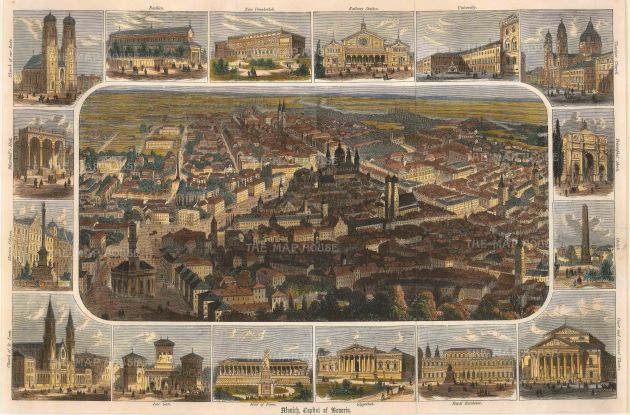 "Anonymous: Munich. c1850. A hand coloured original antique wood engraving. 16"" x 10"". [GERp1078]"