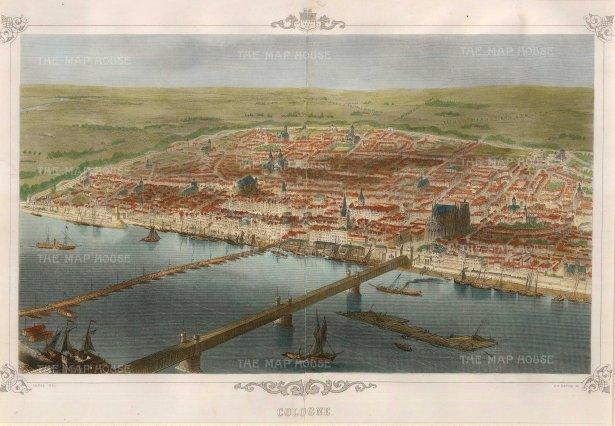 "Carse: Cologne. 1850. A hand coloured original antique steel engraving. 14"" x 10"". [GERp1104]"