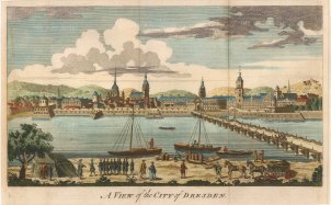 "Anon: Dresden. 1760. A hand coloured original antique copper engraving. 10"" x 6"". [GERp1131]"