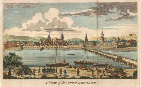"""Anon: Dresden. 1760. A hand coloured original antique copper engraving. 10"""" x 6"""". [GERp1131]"""