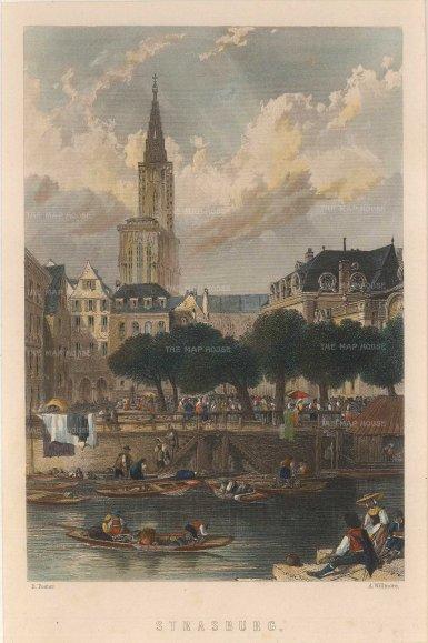 "Picturesque Europe: Strasbourg. c1840. A hand coloured original antique steel engraving. 5"" x 7"". [GERp1238]"