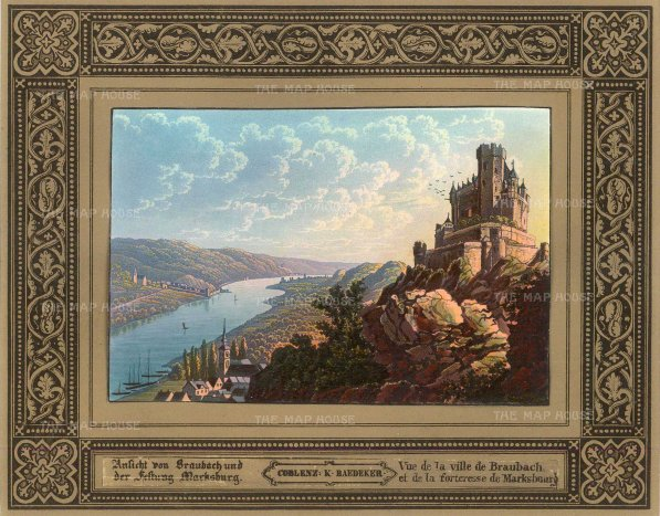 Baedecker: Marksburg Castle, Braubach. c1810. An original antique colour lithograph. 8″ x 6″. [GERp1239]