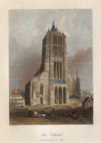 "Bartlett: Ulm. 1845. A hand coloured original antique steel engraving. 5"" x 7"". GERp1260]"